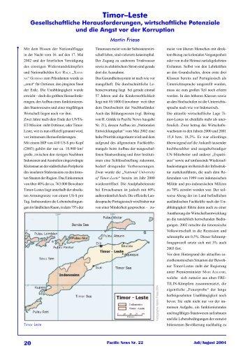 Timor-Leste Gesellschaftliche Herausforderungen, wirtschaftliche ...