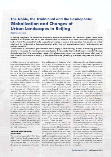 Globalization and Changes of Urban Landscapes in Beijing