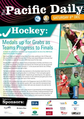 2008 Pacific Daily Newsletter - Issue 6 - Pacific School Games