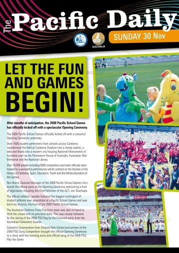 2008 Pacific Daily Newsletter - Sunday - Pacific School Games