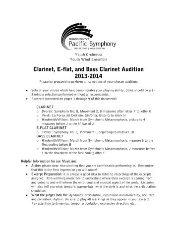 Clarinet, E-flat, and Bass Clarinet Audition 2013 ... - Pacific Symphony
