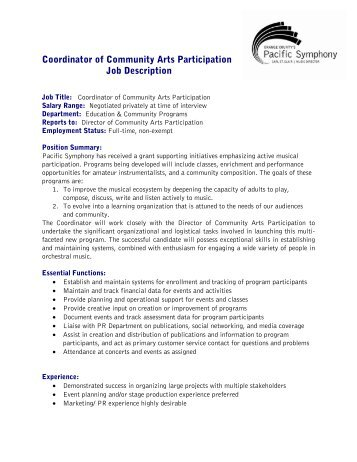 Coordinator of Community Arts Participation Job ... - Pacific Symphony