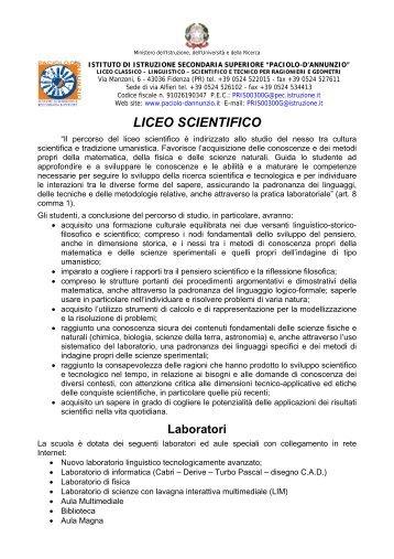 corso liceo scientifico della riforma - Paciolo-D'Annunzio