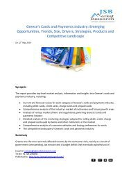JSB Market Research - Greece's Cards and Payments Industry: Emerging Opportunities, Trends, Size, Drivers, Strategies, Products and Competitive Landscape