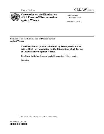 Tuvalu CEDAW Report - PacLII