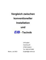 Vergleich zwischen konventioneller Installation und EIB - Technik