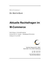 Aktuelle Rechtsfragen im M-Commerce - Kanzlei Dr. Bahr