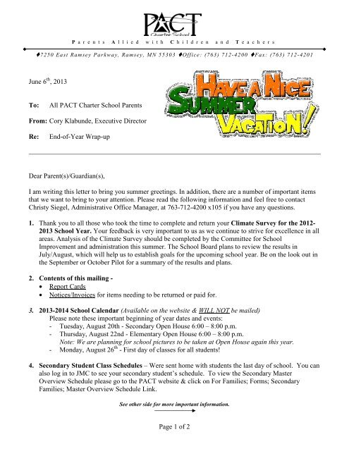 End-of-Year Letter - PACT Charter School