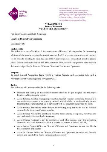 Job Description For Finance Assistant Volunteer   Pact Cambodia  Financial Assistant Job Description