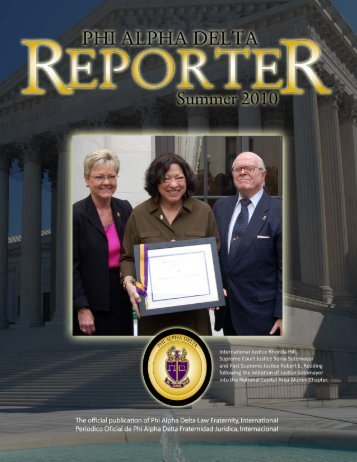 THE REPORTER — SPRING 2010 — PAGE 1 - Phi Alpha Delta