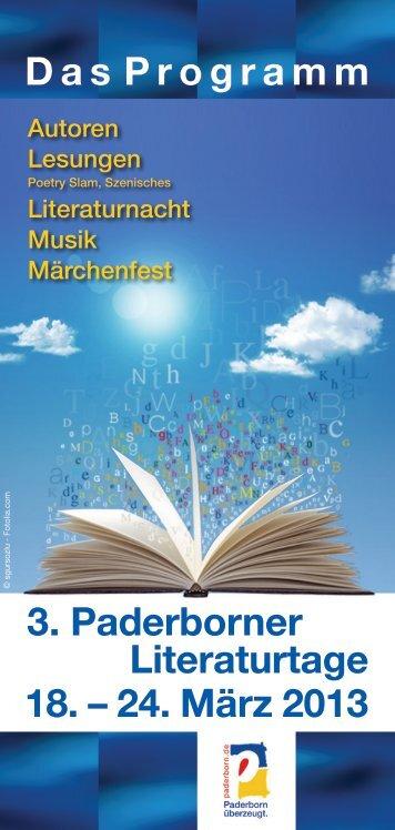 Programm Paderborner Literaturtage 2013 - Stadt Paderborn