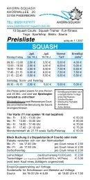 Preisliste SQUASH - Paderborner Squash Club