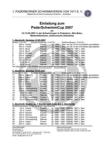Ausschreibung PaderSchwimmCup 2007 am 12. und 13. Mai 2007