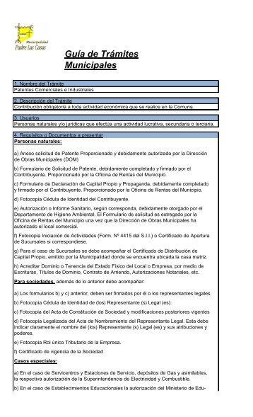 Patentes Comerciales e Industriales - Municipalidad de Padre Las ...