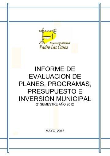 Informe 2 SEMESTRE 2012.pdf - Municipalidad de Padre Las Casas