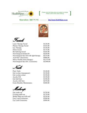 Meridian Esalon And Spa Price List