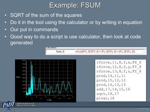 Example: FSUM • SQRT of