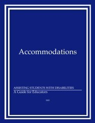 Accommodations-Assisting Students with Disabilities (2003)