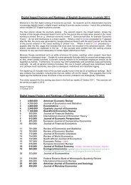 Digital Impact Factors and Rankings of English Economics