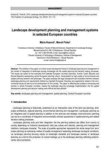 Landscape development planning and management systems in ...