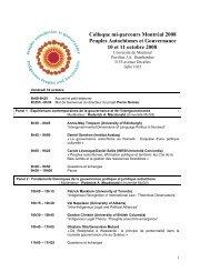 Pour plus d'information - Peuples autochtones et gouvernance
