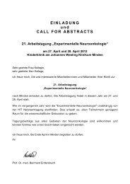 EINLADUNG und CALL FOR ABSTRACTS 21. Arbeitstagung - DGNN