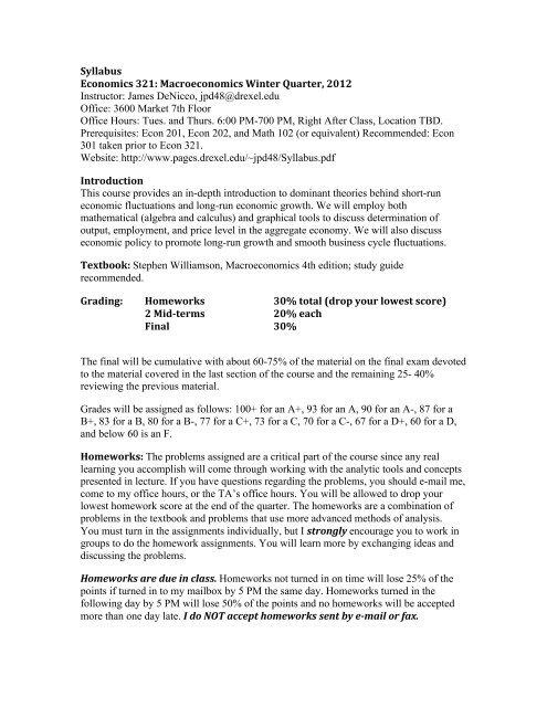 Syllabus - Drexel University - Unix Web Service