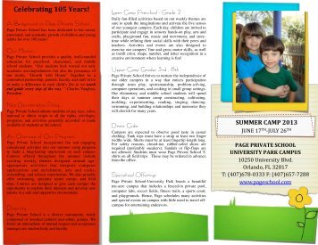UP Summer Camp 2013 - Page Private Schools