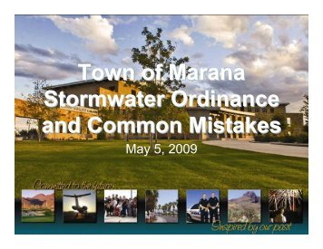 Town of Marana Stormwater Ordinance and Common Mistakes ...