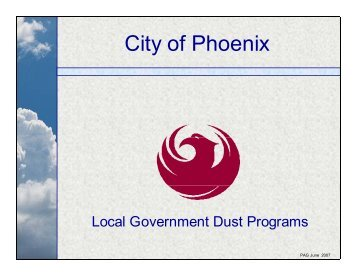 Dust control efforts by the City of Phoenix and greenhouse gas ...