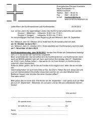 Brief an die Konfieltern - Evangelische Kirchengemeinde Ilvesheim