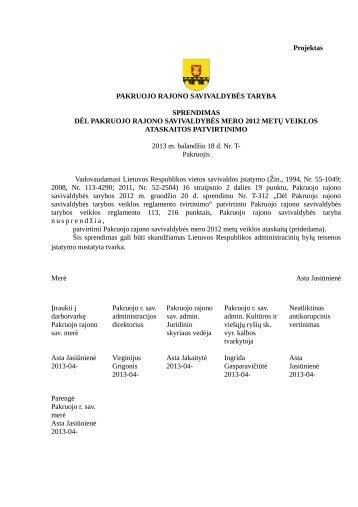Dėl Pakruojo rajono savivaldybės mero 2012 metų veiklos ...