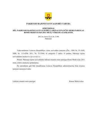 Pakruojo rajono savivaldybės mero 2011 m. veiklos ataskaita