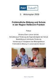 3. Aktionsplan - Schule (1. Fortschreibung 2009) - Pakt Zukunft