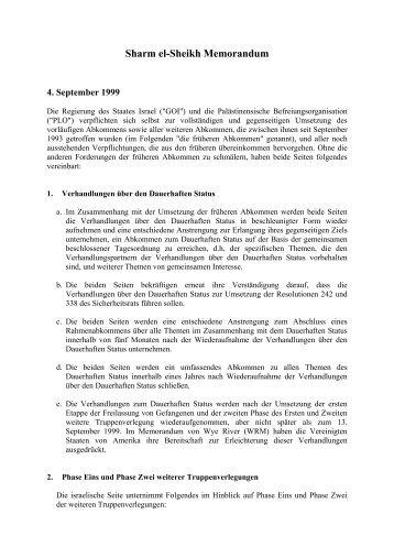 Sharm al-Sheikh-Abkommen vom 4. September 1999