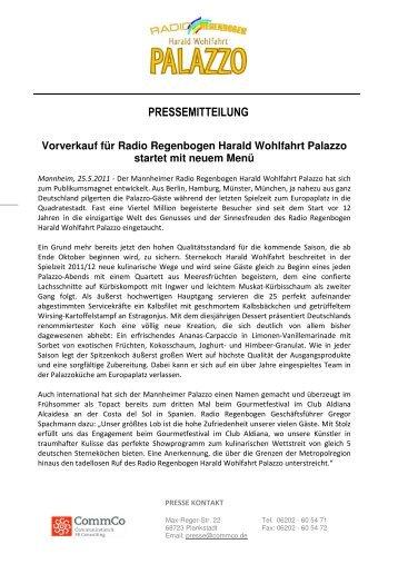 Vorverkauf für Radio Regenbogen Harald Wohlfahrt Palazzo