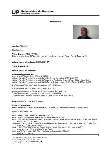 curriculum del Arq. Juan Fontana - Universidad de Palermo