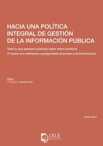 Hacia una política integral de gestión de la información pública