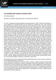Los desafíos del comercio exterior 2013 - Universidad de Palermo