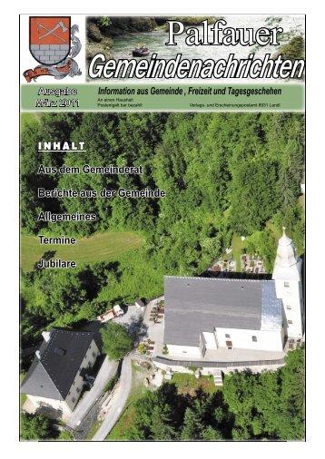 INHALT Aus dem Gemeinderat Berichte aus der Gemeinde ... - Palfau