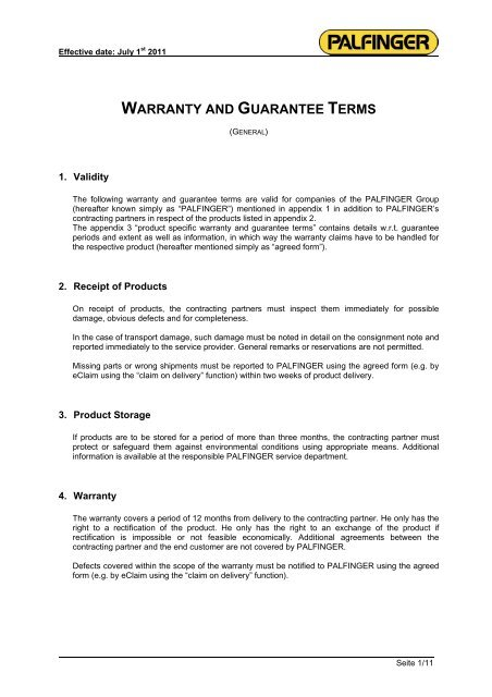 WARRANTY AND GUARANTEE TERMS - Palfinger