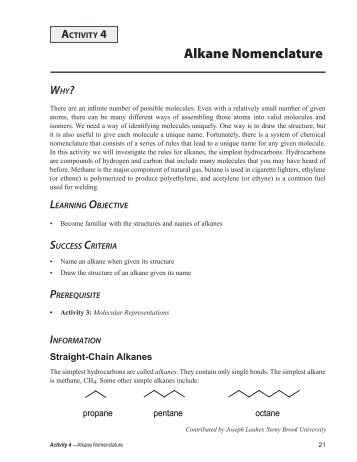 Structure And Nomenclature Of Substituted Alkanes In The Alkanes