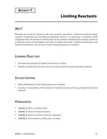 Chemistry worksheet limiting reactant worksheet 1