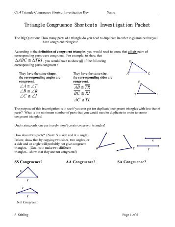 Triangle Congruence Shortcuts Investigation Packet