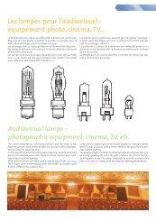 Les lampes pour l'audiovisuel : équipement photo ... - Palissy Galvani