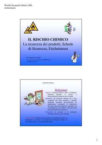 IL RISCHIO CHIMICO La sicurezza dei prodotti, Schede di ...