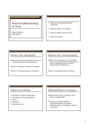 Ethische Fallbesprechung im Team: Beispiele aus der praktischen ...