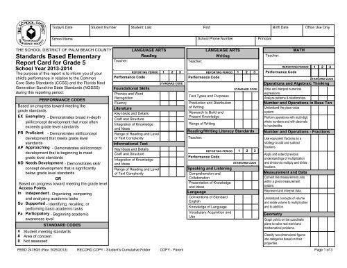 report card for grade 5  Standards Based Elementary Report Card for Grade 6 - The ...