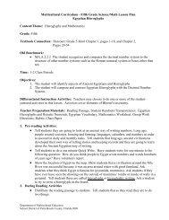 Multicultural Studies Curriculum Fifth Grade Mathematics Lesson Plan