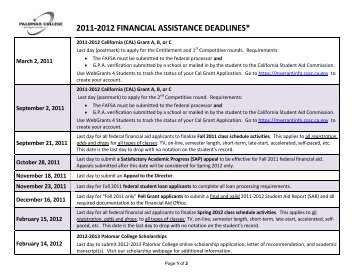 2011-2012 financial assistance deadlines - Palomar College